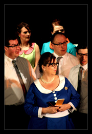 Cast of How To Succeed led by Bev as the indomitable Miss Jone